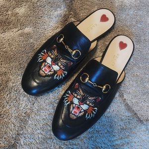 Gucci Women Princetown Angry Cat Tiger Slippers